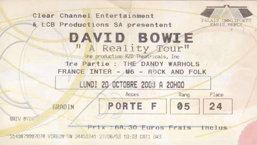 David Bowie 2003 04 20 - the Dandy Warhols - Paris Bercy